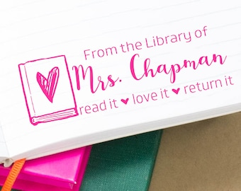 Customized Librarian Stamp, From the Library of Script Stamps, Self-Inking Classroom Stamper, Teacher Stamps, Personalized Rubber Stamp