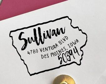 Iowa Address Stamp, Custom Iowa Return Address Stamp, State Stamps, Iowa Stamp