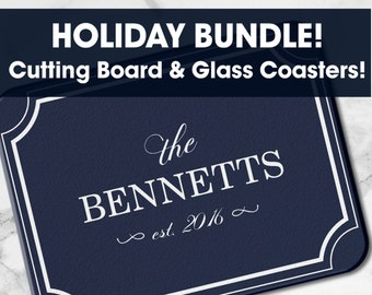 HOLIDAY BUNDLE! Glass Cutting Board and Coasters, Set of 2, Set of 4, Customizable Cutting Board