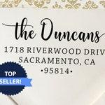 Custom Family Address Stamp, The Duncans Design Address Stamp, Self-Inking Return Address Stamps, Housewarming Gift Stamp