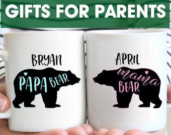 Mama and Papa Bear Mug Set, Custom Mugs, Gifts for Parents, Personalized Christmas Coffee Mug