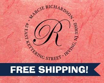 Custom Address Stamp Richardson Fancy Script R Monogram Self Inking Return