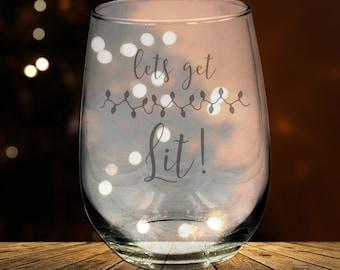 Let's Get Lit, Christmas Stemless Wine Glass, Christmas Gift, Gag Gift