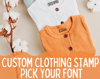 Custom Clothing Stamp | Personalized Fabric Stamp | Self Inking Stamp for Clothing, Camp, School Uniforms