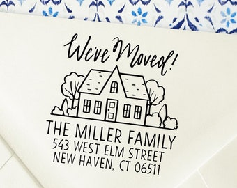 Custom Family Address Stamp Weve Moved Self Inking Return Stamps Housewarming Gift