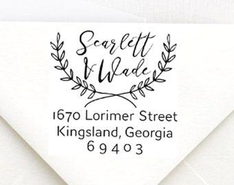 Scarlett Wedding Address Stamp, Self-Inking Return Address Stamps, Housewarming Gift Stamp