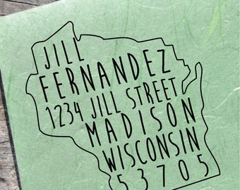 Wisconsin Address Stamp Custom State Stamps
