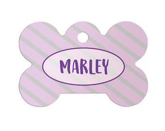 Custom Name Pet Tags, Personalized Bone Shaped Pet Tag with Purple Stripes