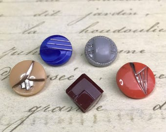 5 Small Vintage Glass Deco Buttons 14 mm