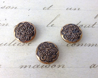 3 Small metal Buttons 15 mm