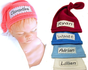 Newborn hat baby knotted hat newborn knit baby hat for newborn white baby hat baby hospital hat knotted baby hat with name baby name hat NB