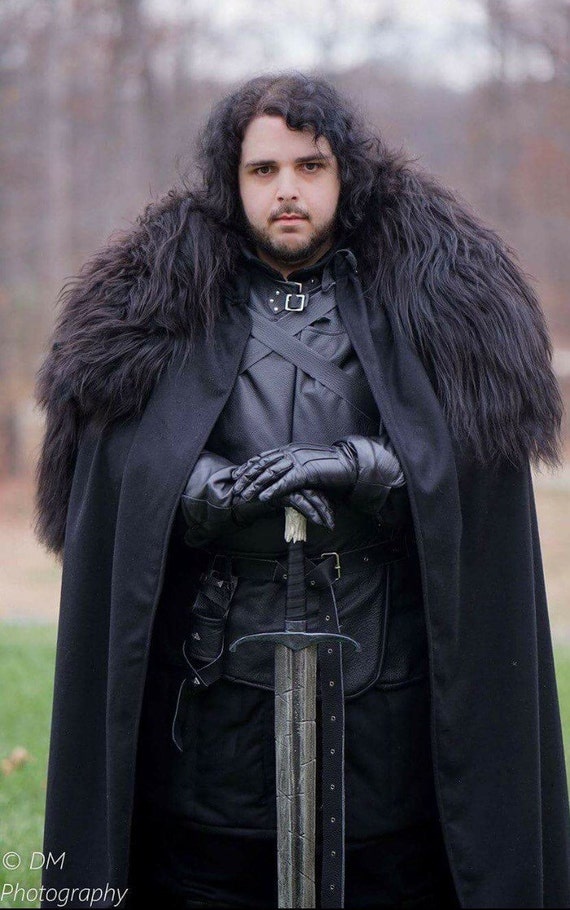 Game of Thrones Black Leather Replica Tunic and skirt with delux sheepskin collard Black cloak