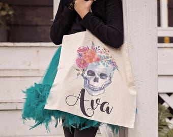 Trick or Treat Bag - Halloween Bag - Personalized Halloween Bag - Skull Bag - Halloween Treat Bag Personalized - Halloween Wedding Party