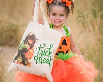 Trick or Treat Bag - Halloween Bag - Halloween Tote - Trick or Treat Tote - Halloween Candy Bag - Halloween Treat Bag -Halloween Goodie Bag