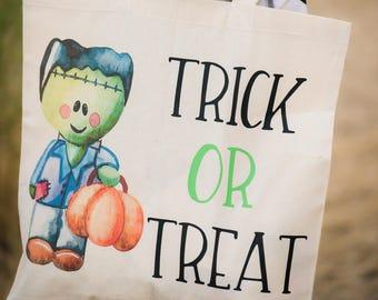 Trick or Treat Bag - Trick it Treat Bag Boy - Halloween Bag Boy - Trick or Treat Tote - Frankenstein Bag - Halloween Treat Bag - Candy Bag