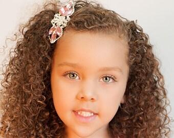 Pink Rhinestone Hair Accessory - Rhinestone Hair Clip - Bridal Hair Clip - Wedding Hair Accessories - Flower Girl Hair Accessory - Headpiece