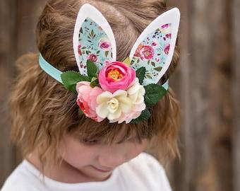 Blue Easter Headband - Bunny Ears Headband - Easter Photo Prop - Easter Bunny Ears - Toddler Headband - Headband for Girls - Spring Headband