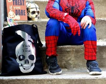 Trick or Treat Bag - Halloween Bag - Halloween Bag for Boy - Trick or Treat Tote - Skull Bag - Halloween Treat Bag - Skull Candy Bag - Skull