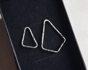 Mismatched Alternative Geometric Earrings, Blackened Sterling Silver with a Hammered Texture Finish