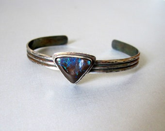 1ff44731cfdaf Australian Boulder Opal Cuff Bracelet - Sterling Silver cuff bracelet -  Australian Blue Koroit Opal Cuff Bracelet