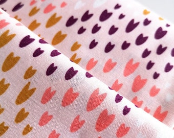 Cotton and Steel , Cotton Fabric POP!- Summer Of Love- Sugar Poppy Fabric, Colorful Pattern on Pink