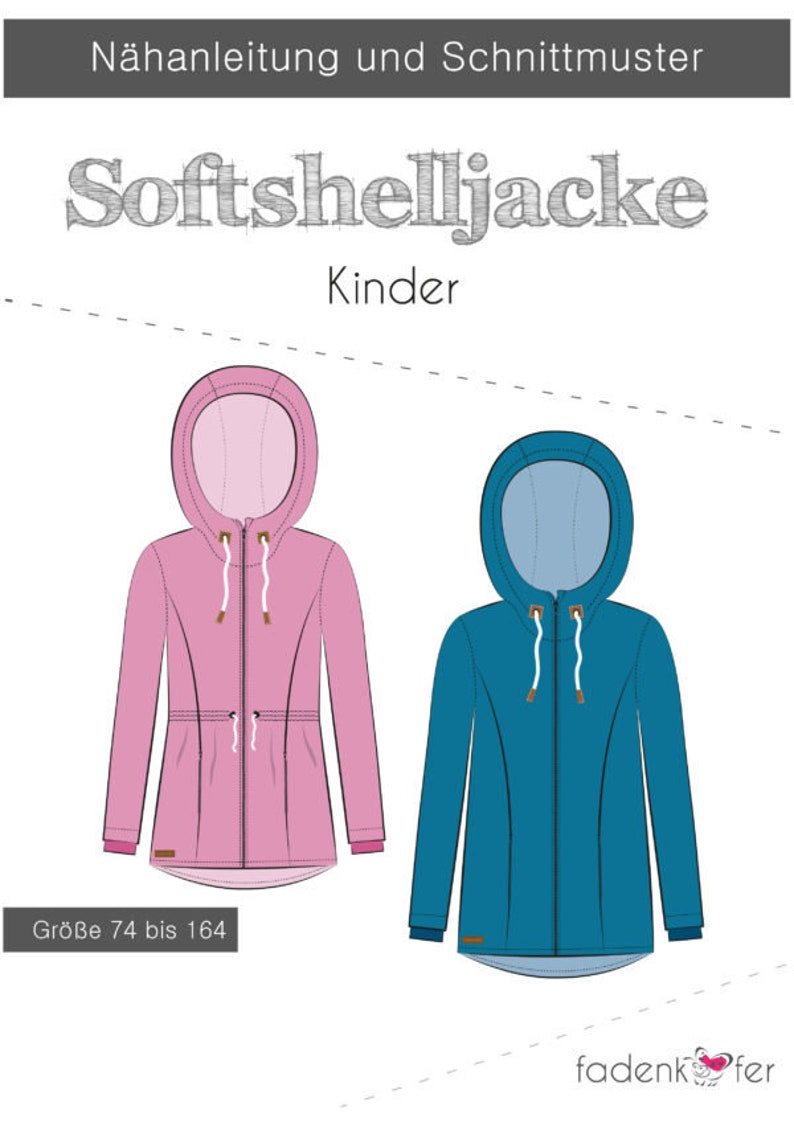 Sewing pattern children for a softshell jacket by thread beetle in sizes 74 to 164 paper cut pattern
