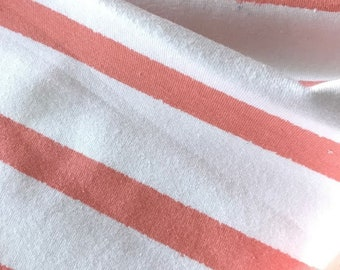 Organic Jersey Fabric, Bloome Copenhagen Organic Jersey with Stripes in White and Apricot, Salmon Colors, Overwidth