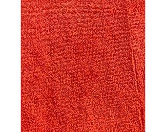 Knitted terry organic cotton by the meter uni Mandarin Red C. Pauli