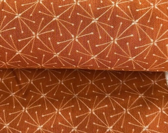 Cloud9 Fabrics , Metreware, Organic Cotton Fabric Lisbon Square by Heather Moore, Sparks on Caramel, Dark Yellow