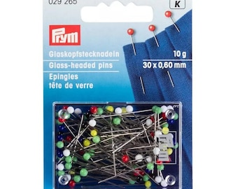 Pins, glass head pins, Prym 10 g, colorful