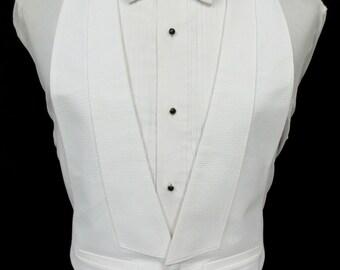 Vintage White Pique Open Back Tuxedo Vest 100% Cotton . Vest Only Fit All 37-50 Chest Size