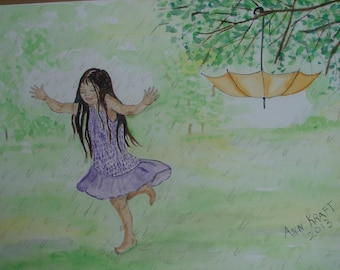Watercolor Painting, Original Watercolor Painting, Girl Painting, Painting of Girl, Girl Running in the Rain