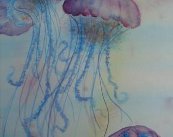 Watercolor Painting, Jellyfish, Original Watercolor, Original Watercolor Painting Jellyfish, Original Painting, Wall Art, Jellyfish Painting