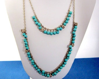 """Banana Republic Silver Tone Layered Necklace with Turquoise Colored Beads and Rhinestones 25"""" long"""