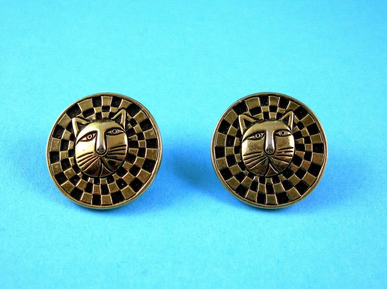Laurel Burch Lion Cat Face Earrings Black Enamel Cloisonn\u00e9 Gold Plate Checkered Stud Pierced Vintage