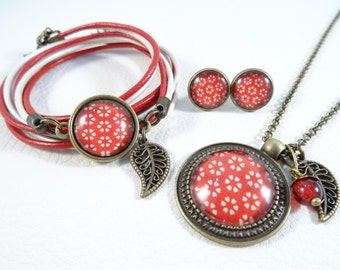 """Jewelry set """"White flower on red"""""""