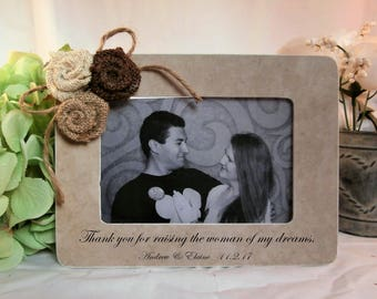 Personalized Mother of the bride gift from groom to brides parents gift picture frame, thank you for raising the woman of my dreams frame