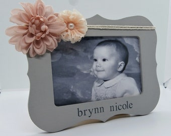 Personalized baby girl gift, personalized picture frame baby girl, custom picture frame baby gifts, pale pink nursery decor nursery frame