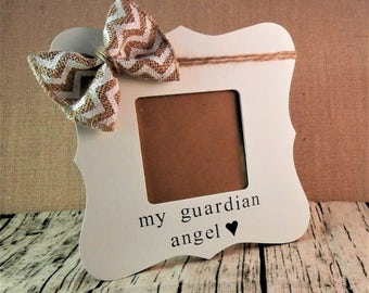 Guardian angel picture frame, loss of loved one gift, religious, loss of father mother grandma grandpa