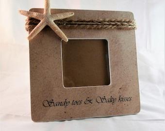 Sandy toes and salty kisses picture frame, coastal Beach decor wedding, starfish decor, beach house gift