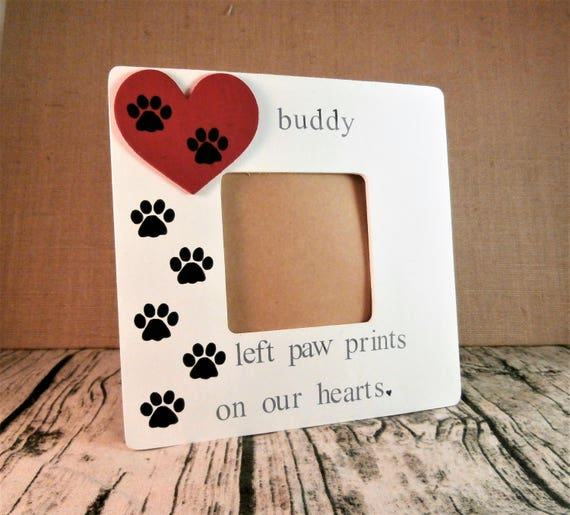 Dog memorial gift Pet loss frame, Paw prints on my heart frame from ...