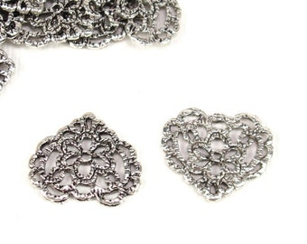 small floral filigree heart antique silver component, drop, link, connector, flat heart, 14x16mm, lead & nickel free (2550sc)