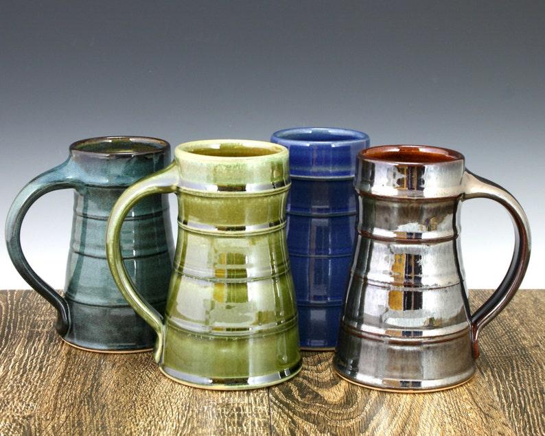 Stoneware Pottery Beer Mug Beer Tankard Beer Stein 20 oz. image 0