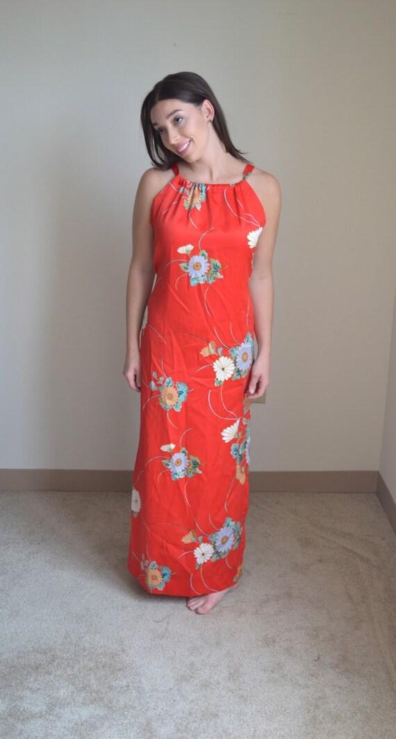 Vintage Floral Maxi Slip Dress (Size S) - image 1