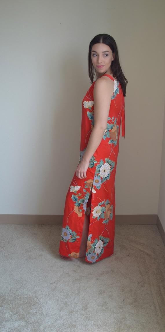 Vintage Floral Maxi Slip Dress (Size S) - image 3