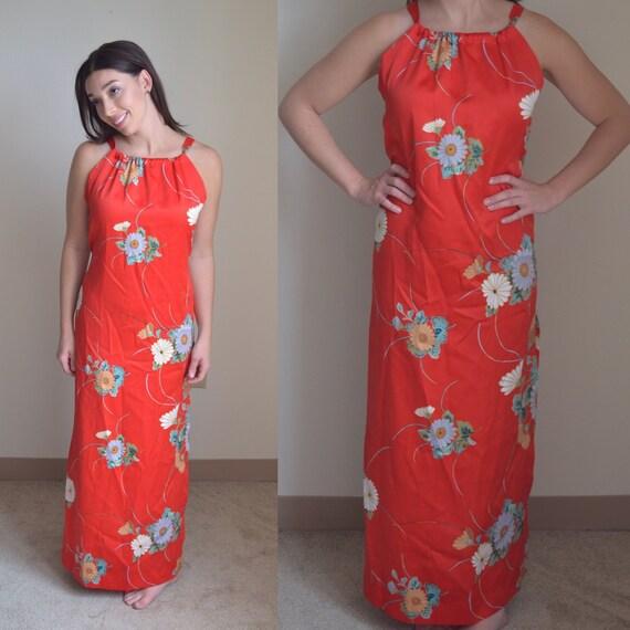Vintage Floral Maxi Slip Dress (Size S) - image 2
