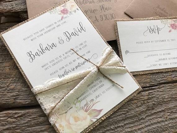 Burlap Wedding Invitations | Boho Wedding Invitation Set Floral Wedding Invitation Burlap