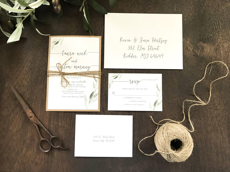Eucalyptus Wedding Invitation Set Greenery Wedding   Etsy