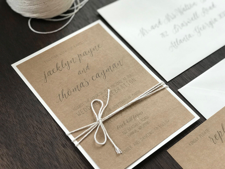 Rustic Romantic Wedding Invitations: Rustic Wedding Invitation Set Romantic Wedding Invitation