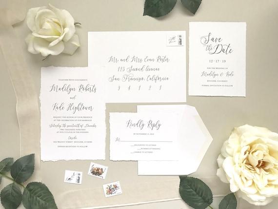 deckled edge wedding invitation set printed hand torn invite etsy
